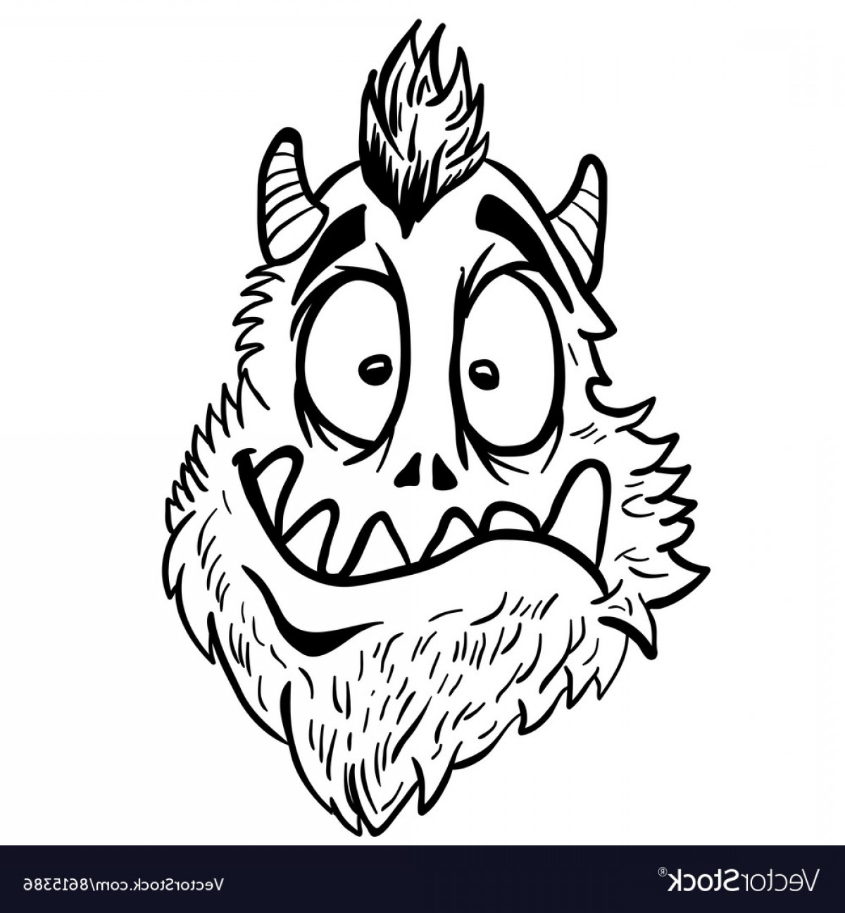Funny Black And White Vector: Simple Black And White Funny Looking Monster Vector