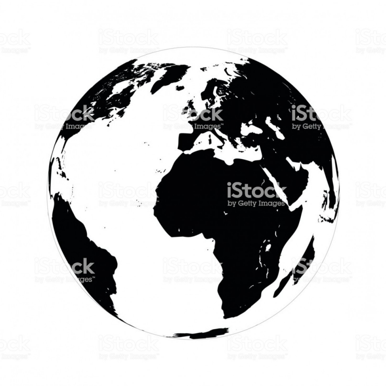 One Color Simple Vector Globe: Simple Black Globe Vector Illustration On White Background Gm