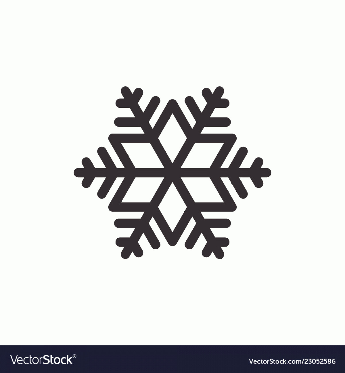 Simple Black Vector Snowflake: Simple Black Snowflake Icon Graphic Isolated Vector