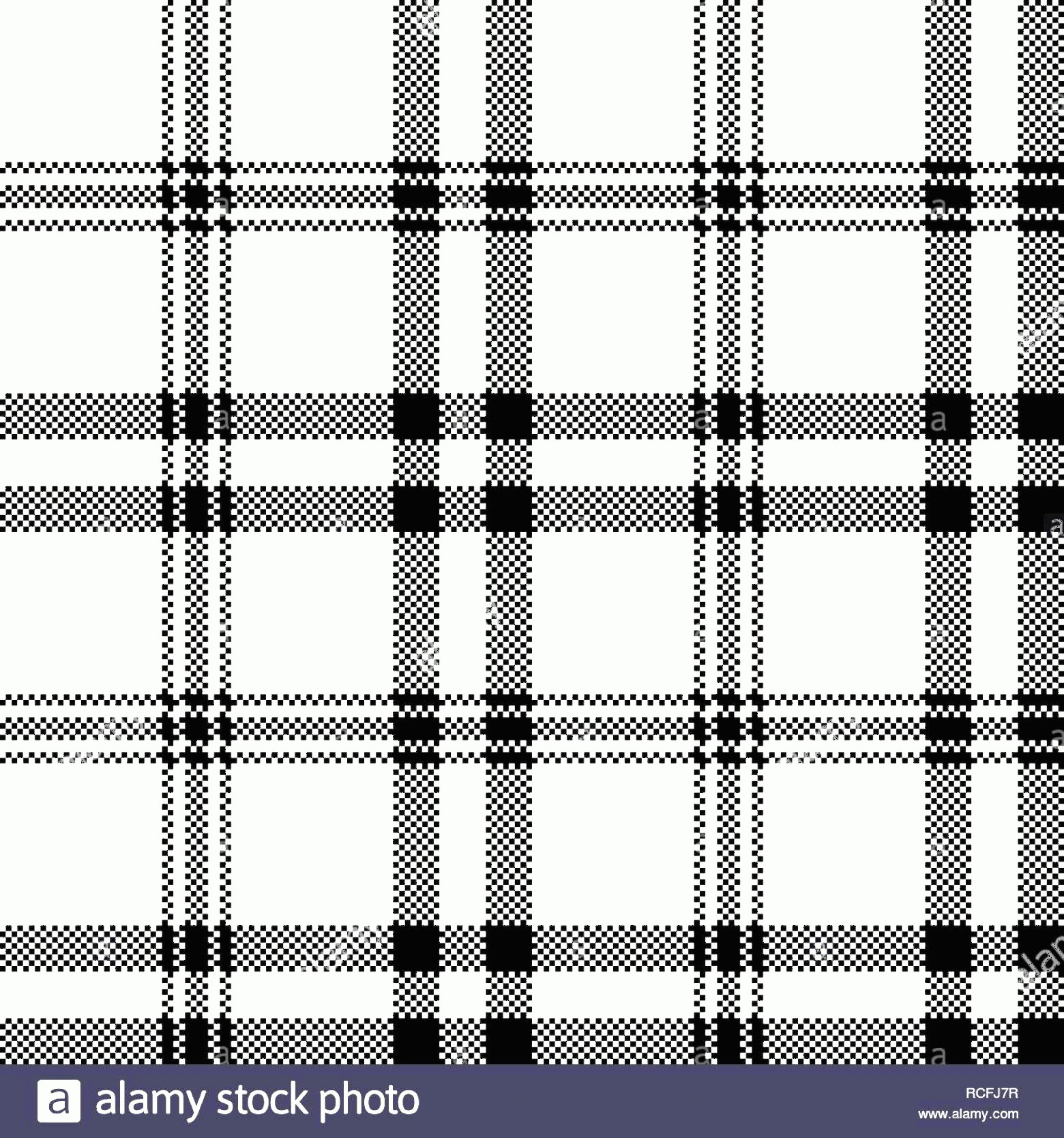 Plaid Vector: Simple Black White Check Plaid Seamless Pattern Vector Illustration Image