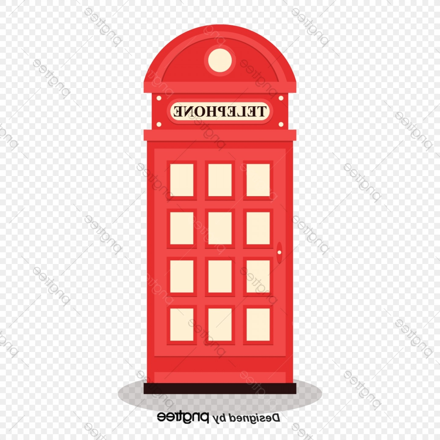 Commercial Booth Vector: Simple British Red Phone Booth Elements