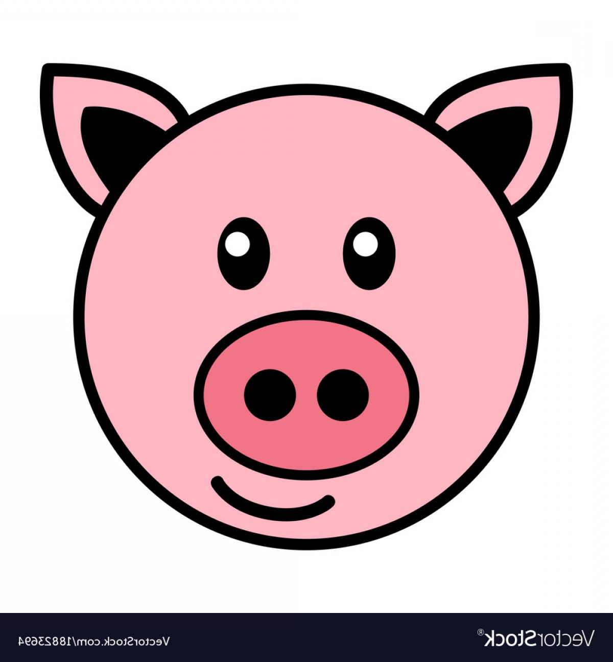Vector Pig Nose: Simple Cartoon Of A Cute Pig Vector