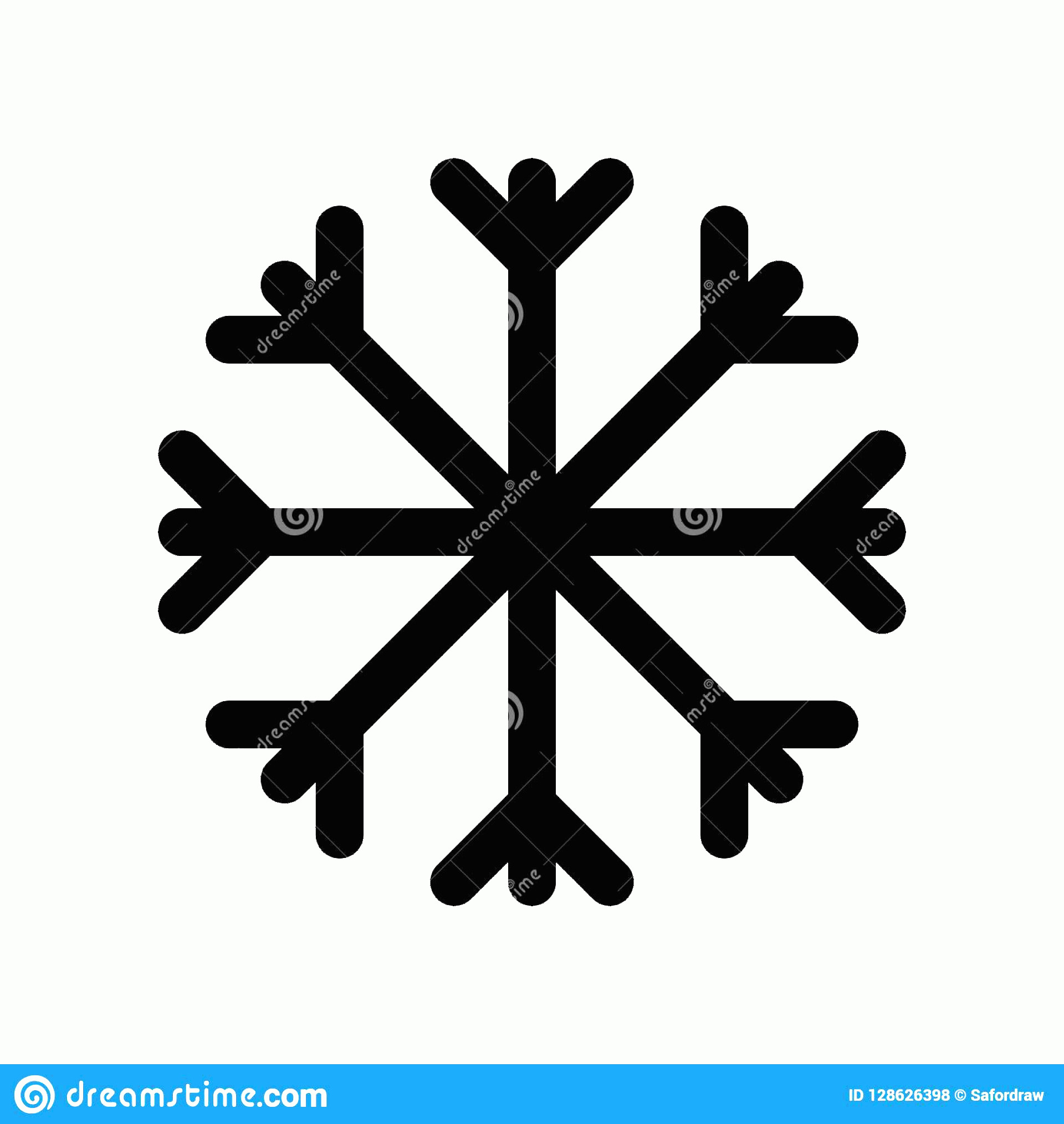 Simple Black Vector Snowflake: Simple Graphic Black Flat Vector Snowflake Icon Isolated Elemen Element Decoration Seasonal Greeting Cards Wallpapers Image