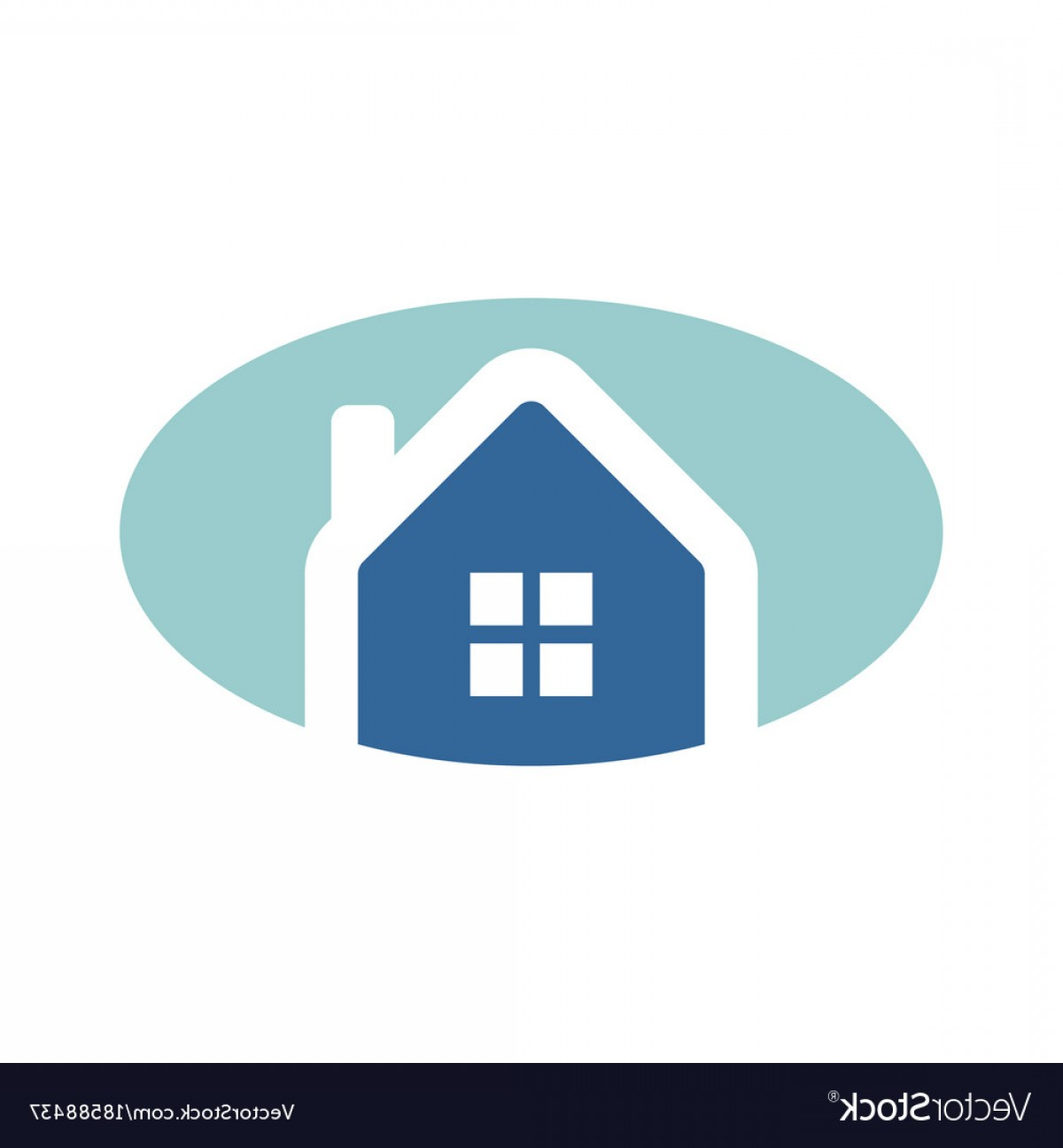 Home Logo Vector: Simple Oval Blue Home Logo Vector
