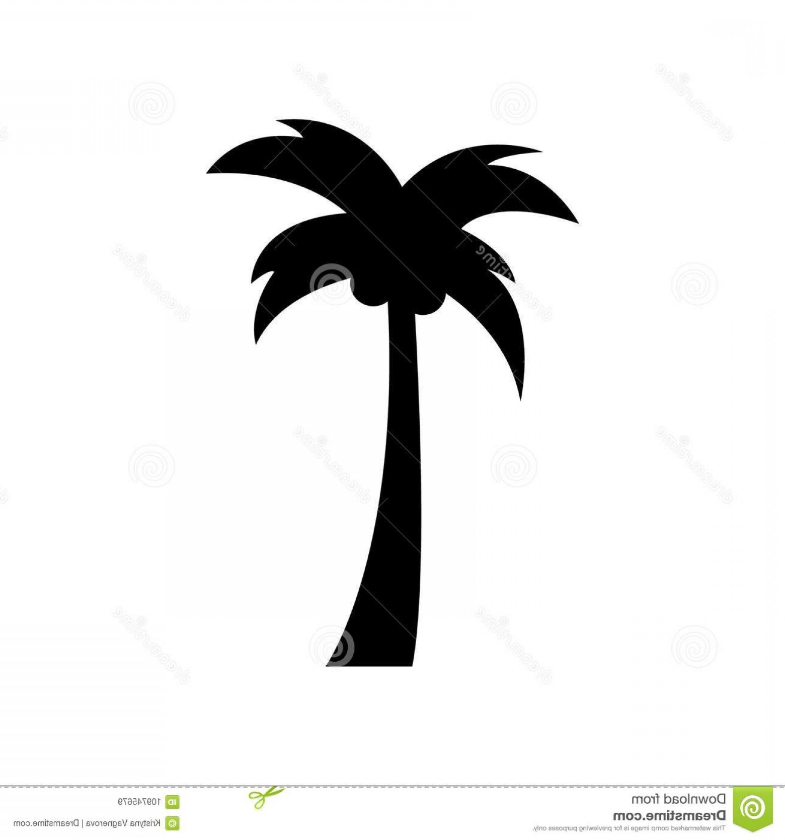 Simple Palm Tree Vector: Simple Palm Tree Black Vector Icon Isolated Tropical Coconut Graphic Illustration Image