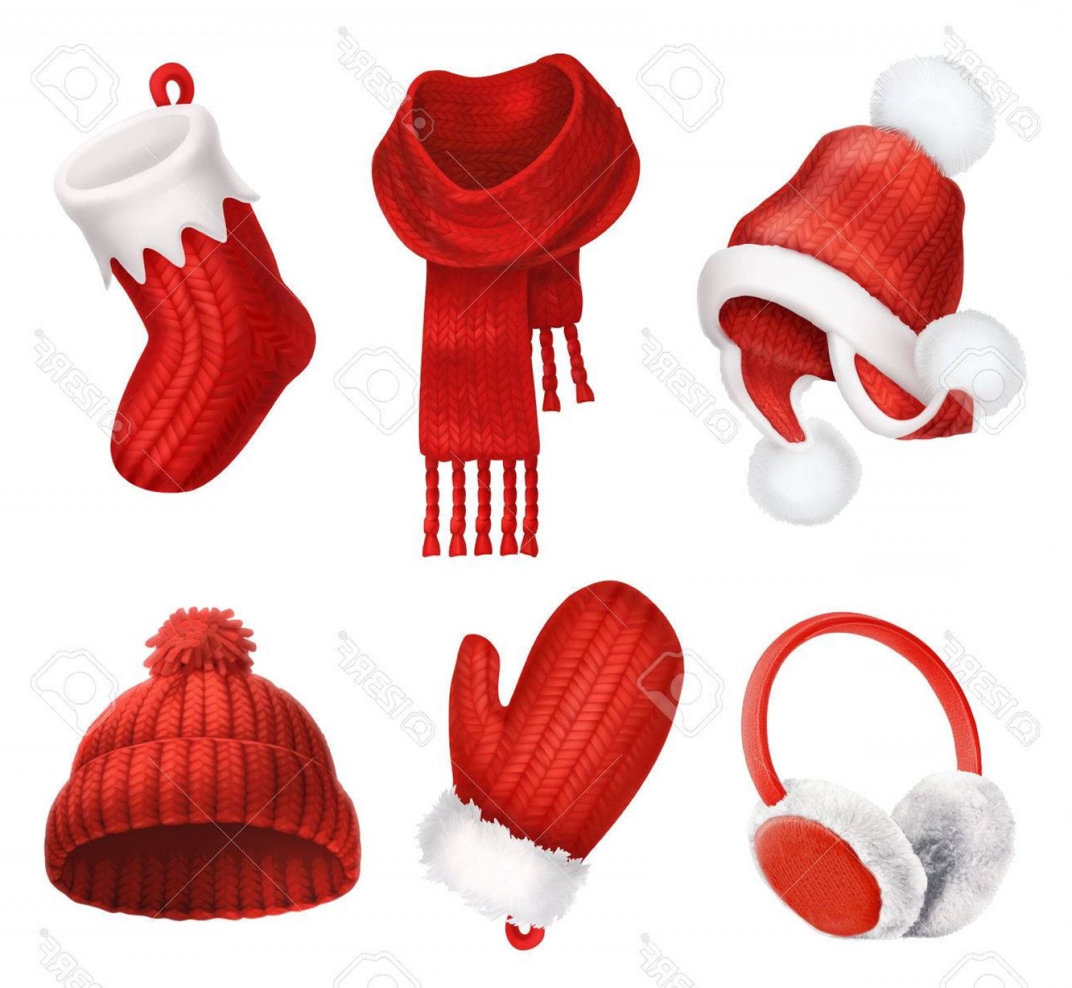 Stocking Hat Vector: Simple Photostock Vector Winter Clothes Knitted Cap Christmas Sock Scarf Mitten Earmuffs D Vector Icon
