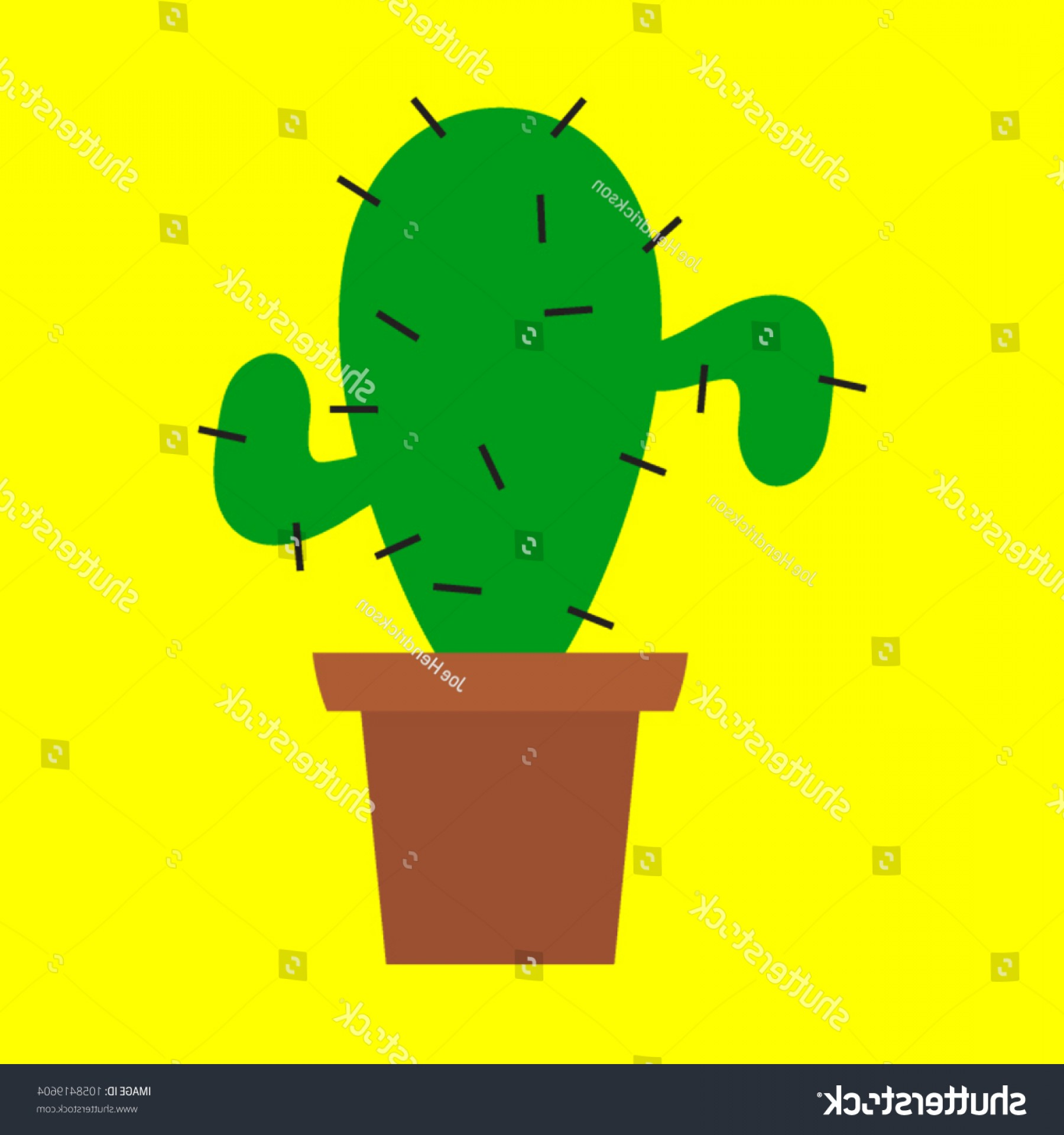 Potted Cactus Plant Vector: Simple Potted Cactus Plant Thorns Vector