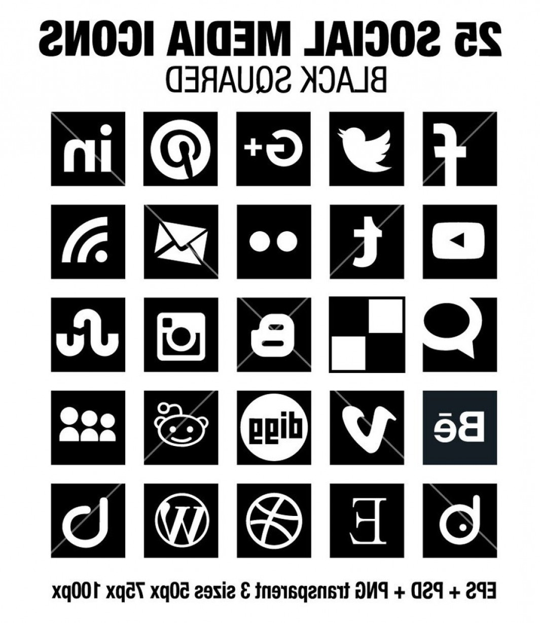 Social Media Vector Icon PNG Black: Simple Social Media Square Black Icons