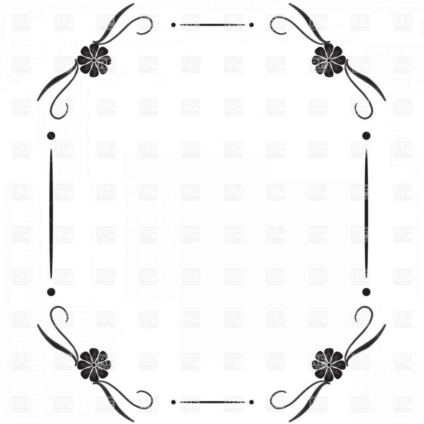 Square Black Vector Border Frame: Simple Square Vintage Frame With Vignettes In Corner Vector Clipart