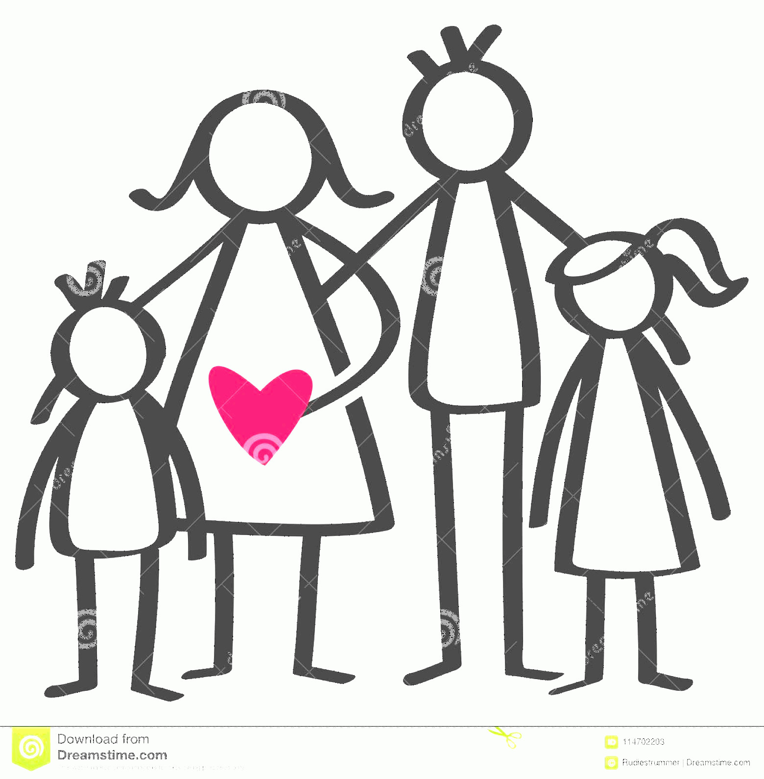 Stick Family Vector Art: Simple Stick Figures Happy Family Mother Father Son Daughter Children Red Heart Simple Stick Figures Happy Family Mother Father Image