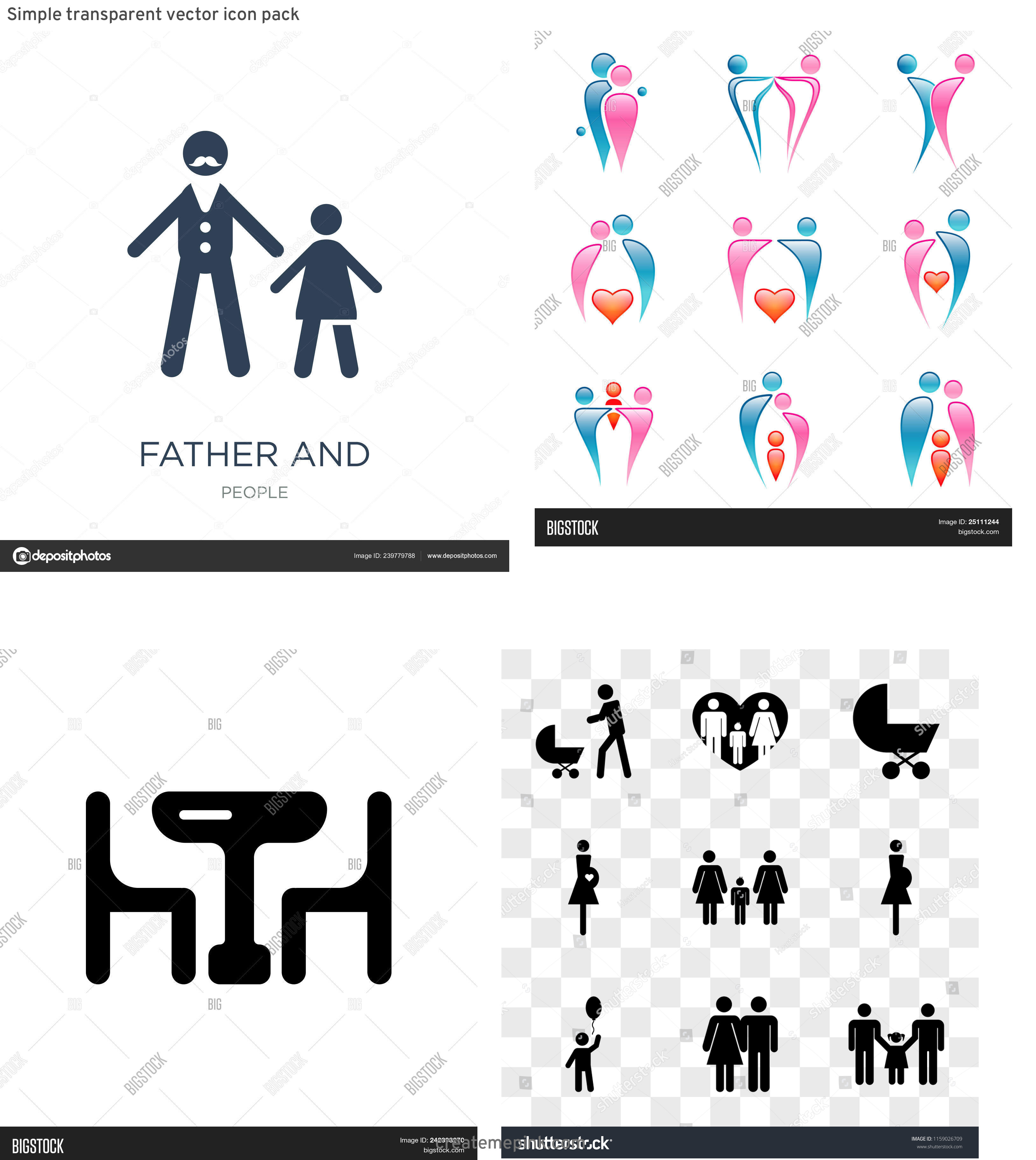 Daughter Vector Icons: Simple Transparent Vector Icon Pack
