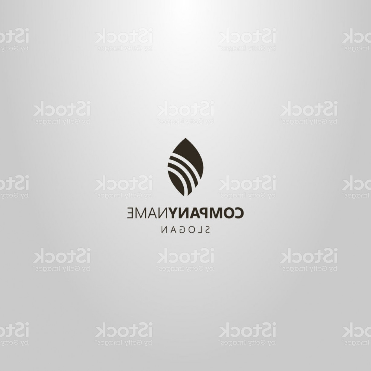 Art Space Logo Vector: Simple Vector Flat Art Negative Space Logo Of A Leaf With Three Rounded Stripes Gm