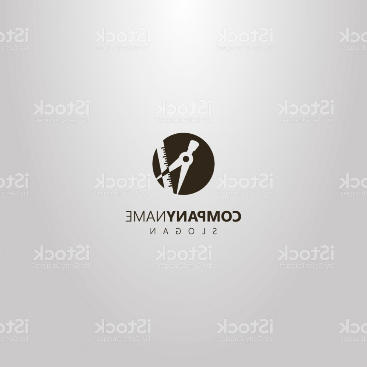 Art Space Logo Vector: Simple Vector Round Negative Space Logo Of Dividers And Ruler Gm