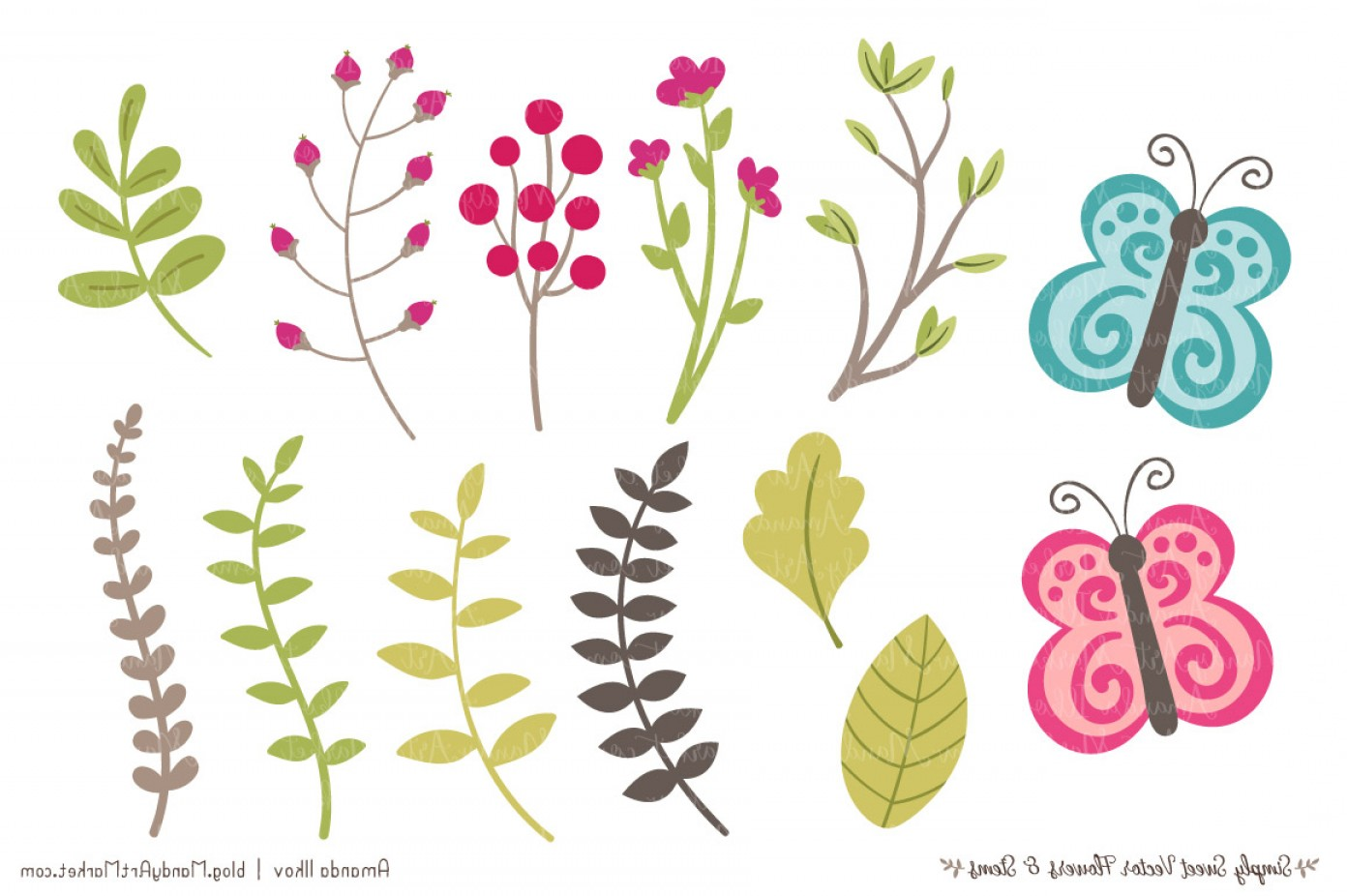 Bohemian Flowers Vector: Simply Sweet Vector Flowers And Stems Clipart In Bohemian