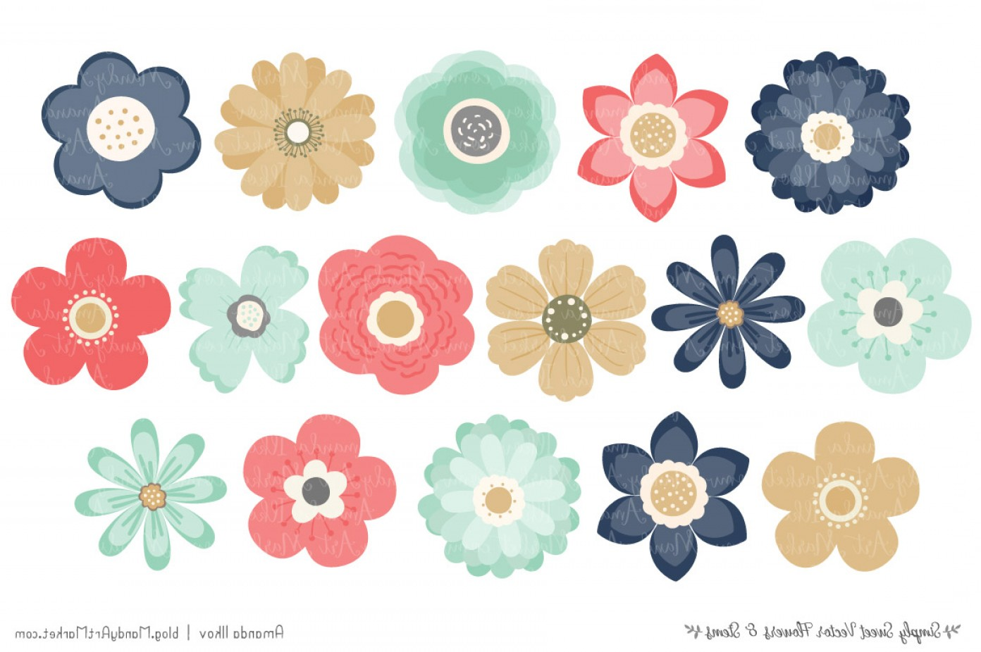 Modern Flower Logo Vector: Simply Sweet Vector Flowers And Stems Clipart In Modern Chic
