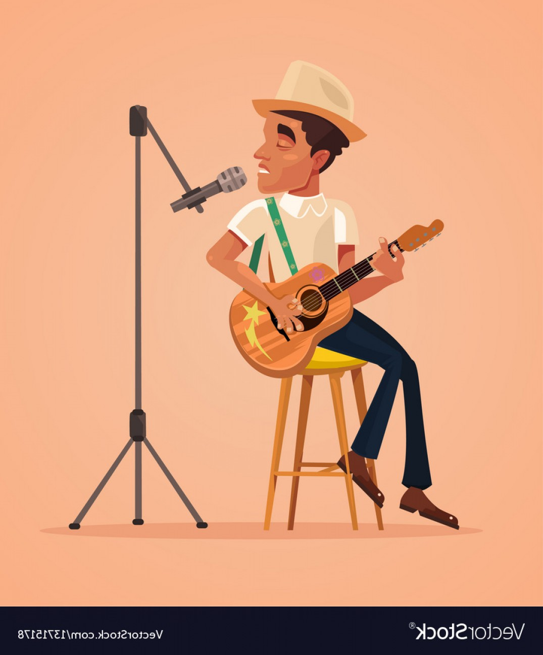 Musician Person Vector: Singer Man Character Sing Song And Play Guitar Vector