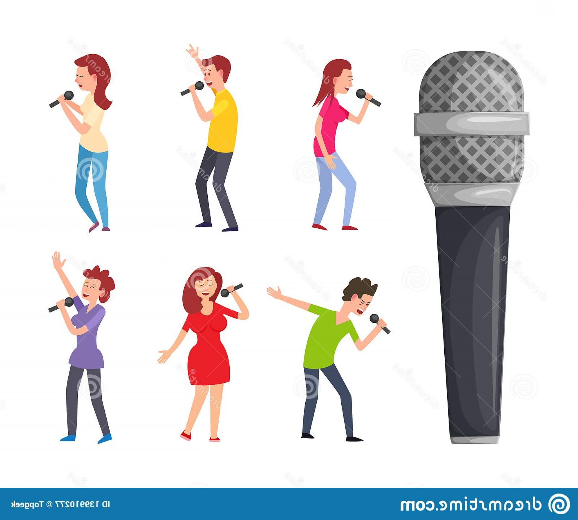 Singers Vector Art: Singers Microphone Men Women Singing Pop Artists Performers Celebrities Sing Songs Musical Electric Device Isolated Vector Image