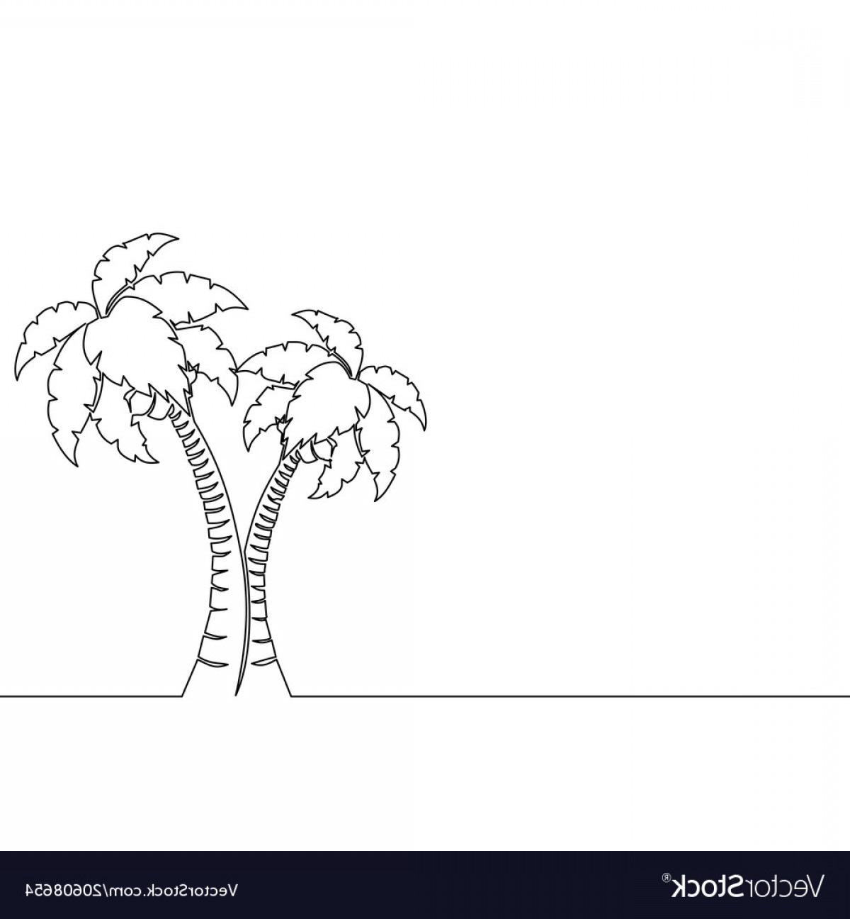 Continuous Tree Branch Vector Image: Single Continuous Line Art Palm Tree Line Drawing Vector