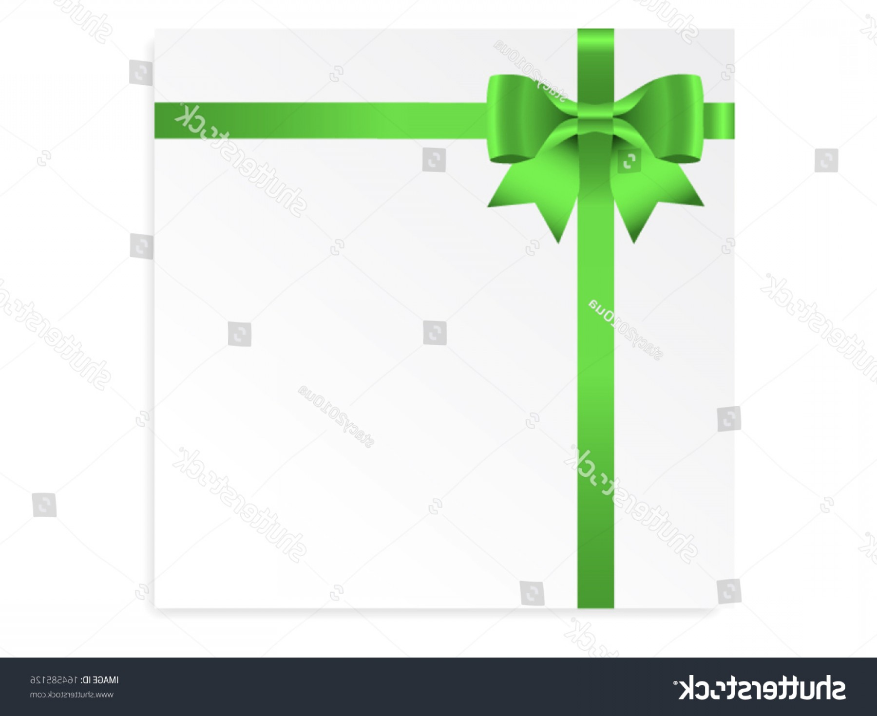Cross And Ribbon Vector: Single Gift Bow Green Color Cross