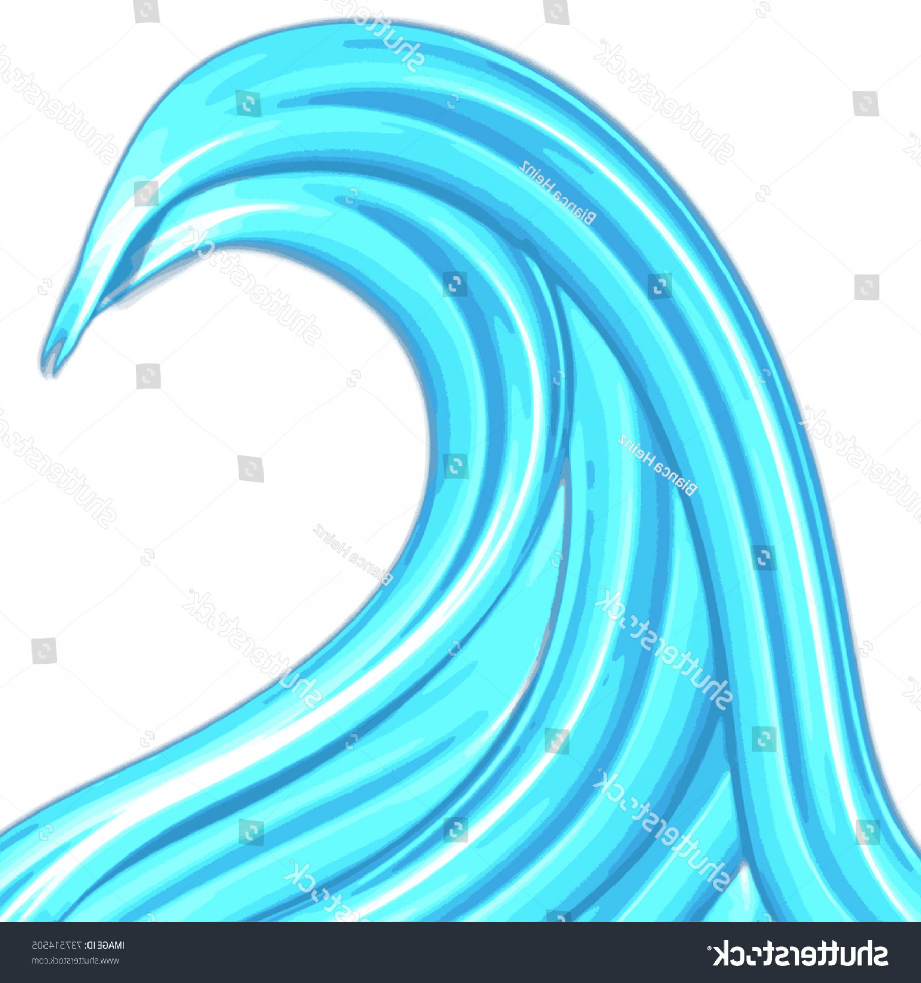 Awesome Ocean Wave Vector: Single Ocean Wave Symbol Different Blue