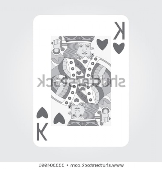 Single Playing Card Vector: Single Playing Cards Vector King Hearts