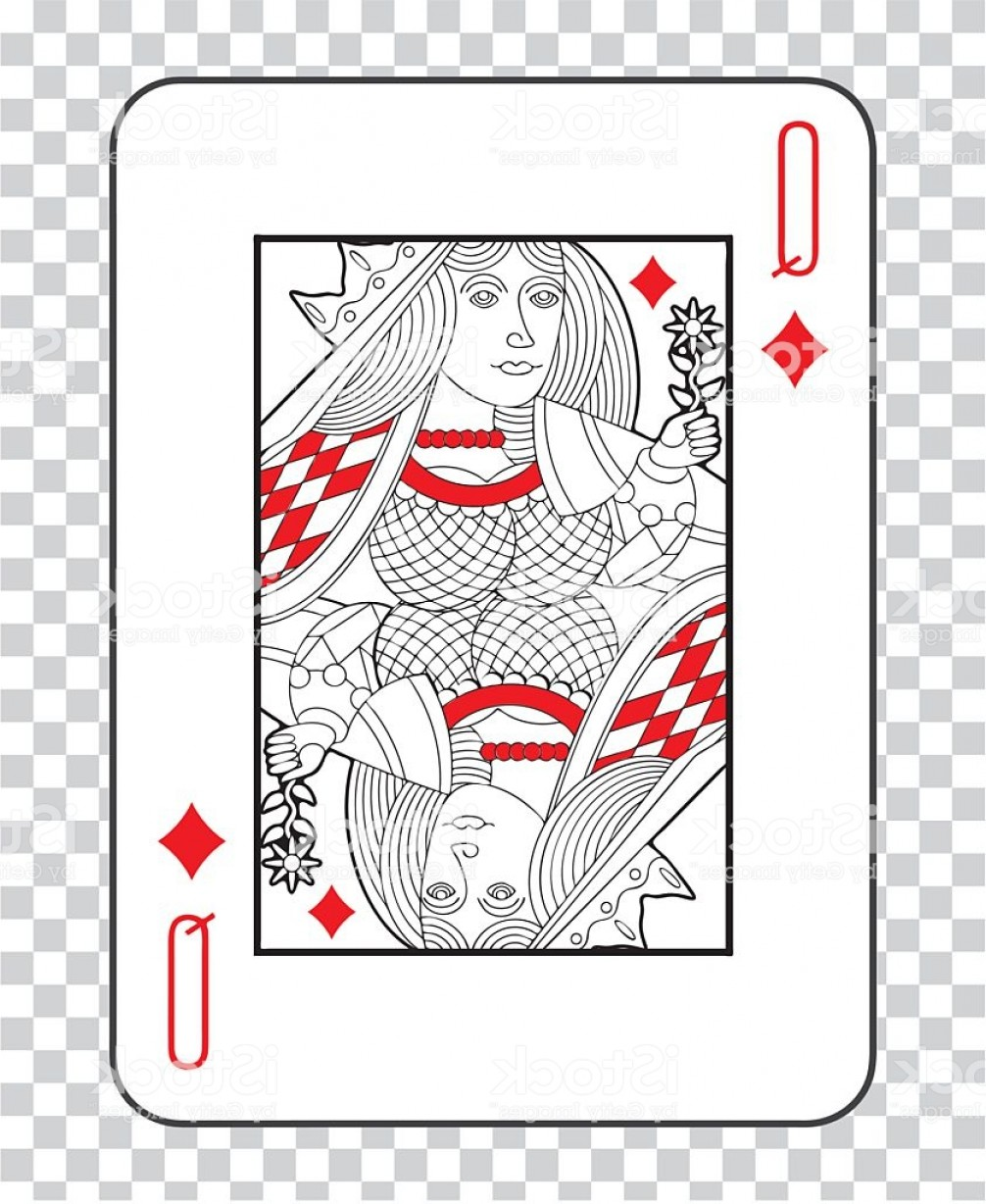 Single Playing Card Vector: Single Playing Cards Vector Queen Diamonds Gm