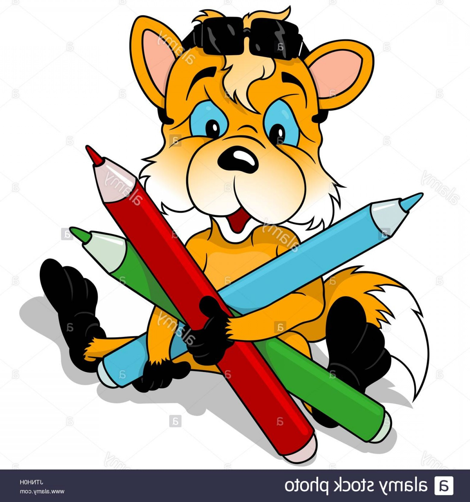 Sitting Fox Logo Vector: Sitting Fox Holding Colored Pencils Image
