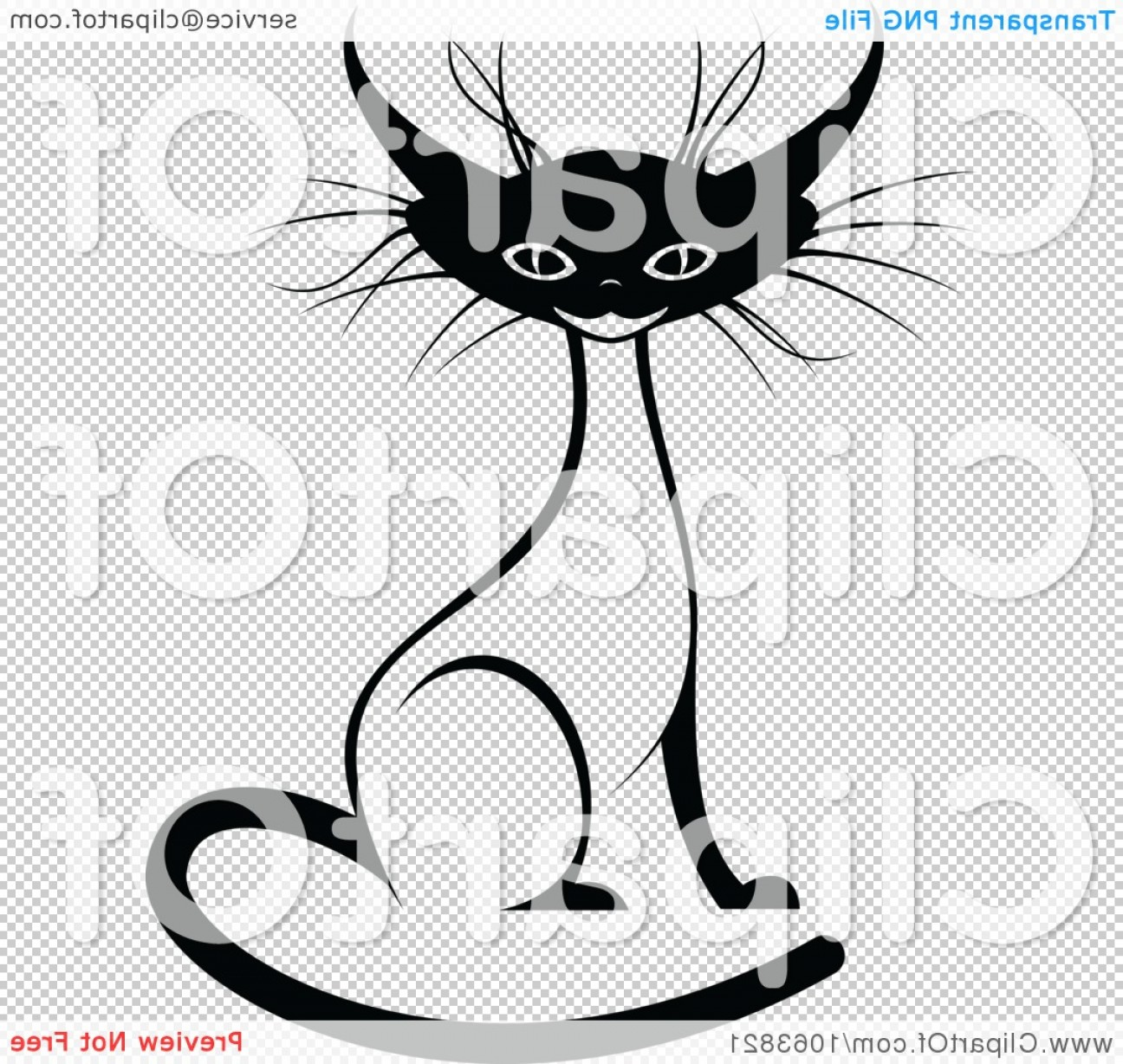 Siamese Cat Vector Transparent Background: Sitting Siamese Cat Black And White