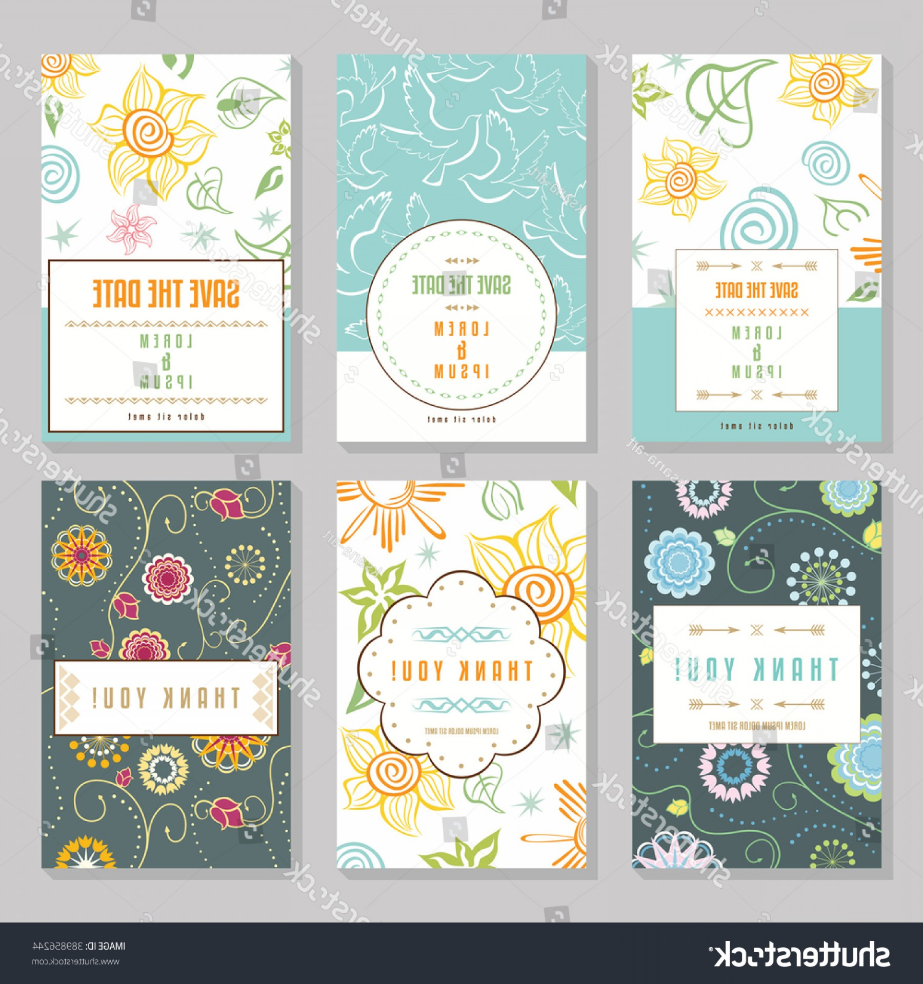 Vector Ornament Sets: Six Cards Floral Ornaments Collection Romantic