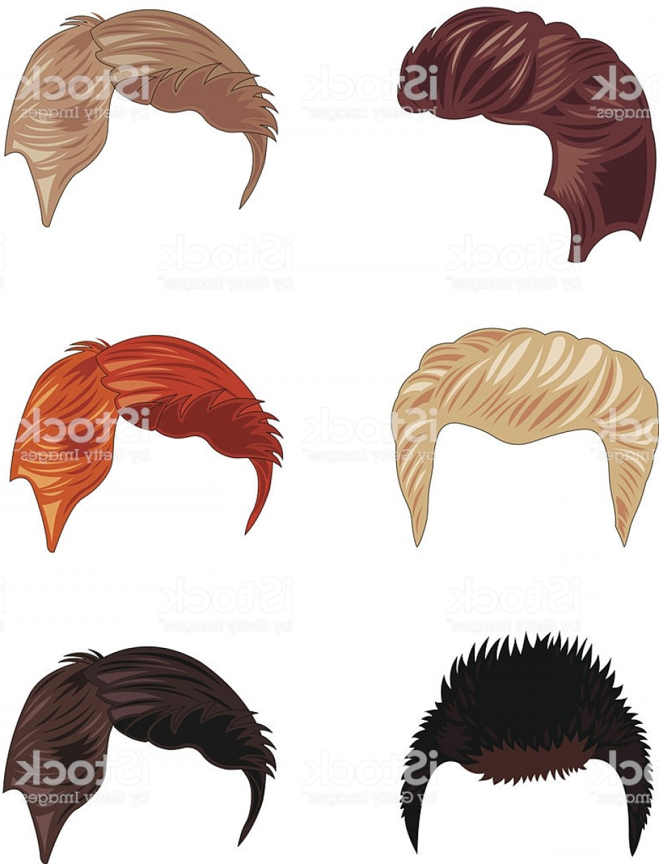 Short Men's Hair Vector: Six Short Mens Hairstyles In Different Colors Gm