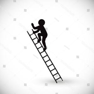 Ladder Silhouette Vector: Silhouette Man Climbs Stairs Isolated On