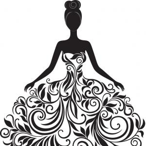 Elegant Woman Silhouette Vector: Elegant Couple In Evening Dress Silhouette Vector