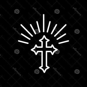 Religious Easter Vector Silhouette: Silhouette Ornate Cross Sun Lights Happy Easter Concept Illustration Greeting Card Religious Symbol Faith Outline Image