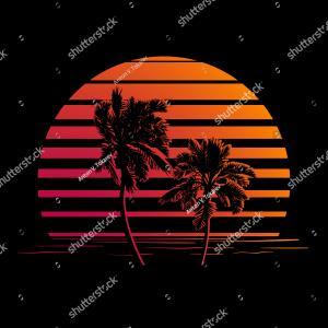 Sunset And Palm Tree Silhouette Vectors: Silhouette Palm Trees