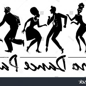 White Retro Vector People: Silhouette People Dressed Vintage Fashion Dancing