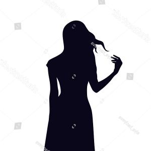 Young Woman Silhouette Vector: Silhouette Slim Young Woman Summer Dress