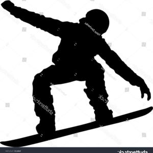 Snowboarder Silhouette Vector Art: Silhouette Snowboarder Isolated On White Background