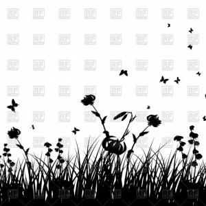 Vector Silhouette Butterfly Eating: Silhouettes Of Meadow With Grass Flowers And Butterflies Vector Clipart