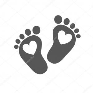Baby Footprints Vector Art: Simple Baby Footprints Vector Illustration Black Footprints Of Baby On Light Background Image