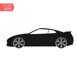 Simple Car Vector Side View: Simple Floating Sports Car Icon Viewed From The Vector