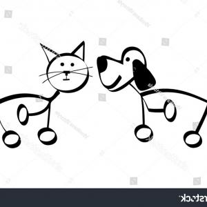 Dog And Cat Vector Illustration: Simple Outline Drawing Dog Cat Vector