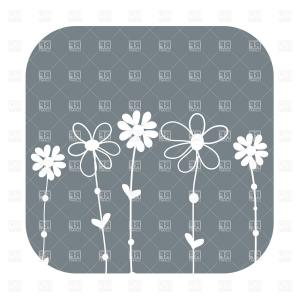 Cross Outline Flower Vector: Simple Outline Of Hand Drawn Wildflowers Vector Clipart