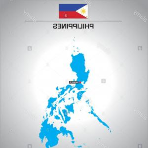 Philippine Map Vector: Simple Vector Outline Map Of Philippines With Flag Image