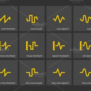 Sine Wave Vector Art: Sine Triangle Square Sawtooth Wave Types Icons