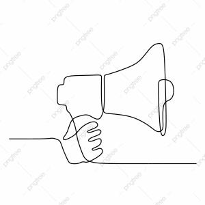 Vector Drawing Of A Speaker: Single One Line Drawing Of Horn Speaker With Hand Sign And Symbol For Announcement And Employee Hiring