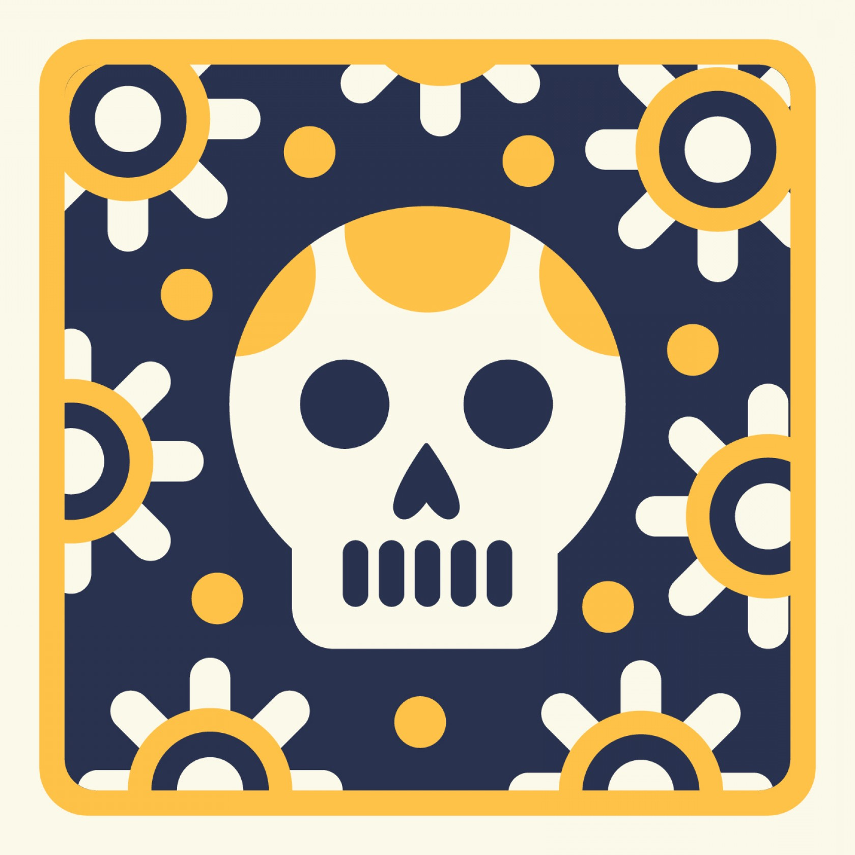 Vector Skeleton Circle Dancing: Skeleton Linocut In Yellow And Blue