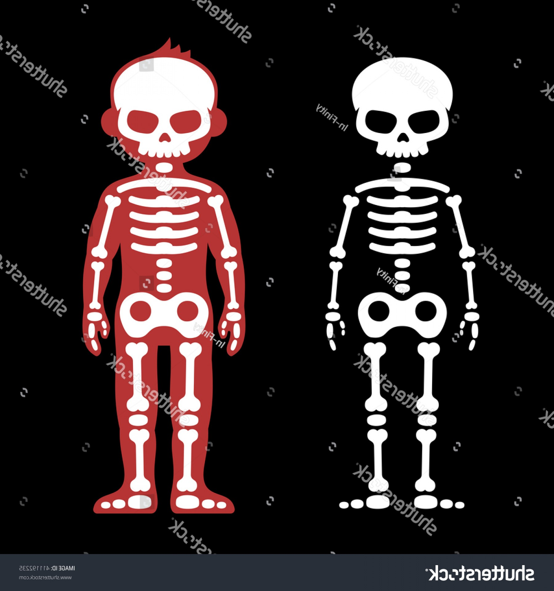 Skeletons In Love Vector: Skeletons Human Bones Set Cartoon Style