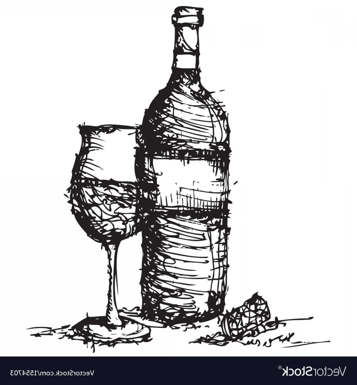 Wine Bottle Vector Line Art: Sketch Drawing Of Wine Bottle And Glass Vector
