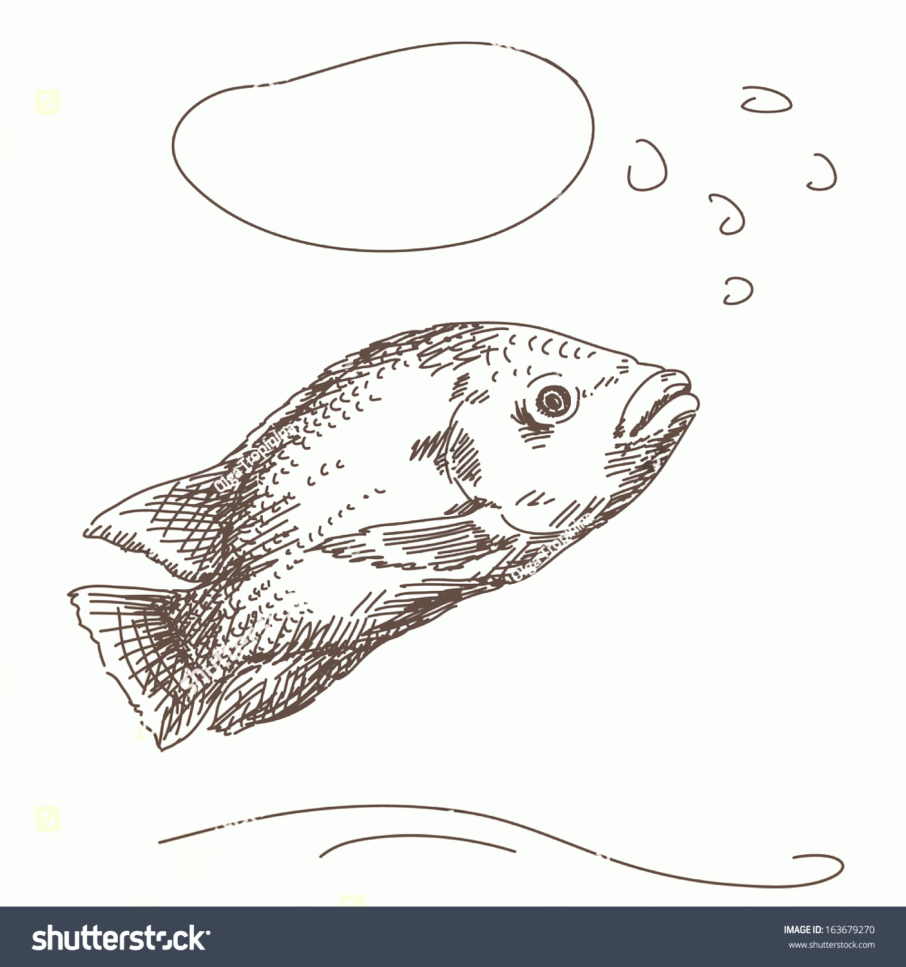 Thought Bubble Vector Sketch: Sketch Fish Thought Bubble Vector
