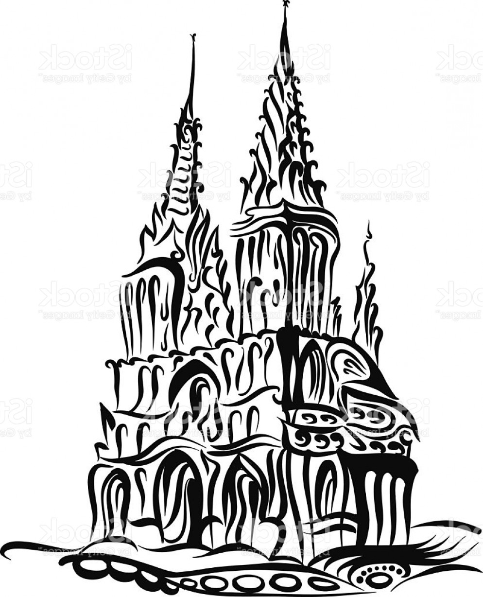 Gothic Religious Vector: Sketch Of A Catholic Church In The Gothic Style Gm